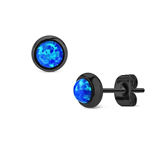 MoBody Created-Opal Round Stud Earrings Black Surgical Stainless Steel Womens Jewelry (Blue Created Opal) ()