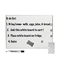Great White Magnetic Dry Erase Board Combo with Dry Eraser, Pen Holder and Premium Marker (White)