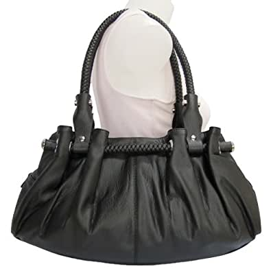Braided Satchel Hobo Handbag (Black)
