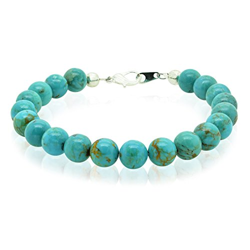 Bluejoy Jewelry Genuine Natural Turquoise Bracelet 8mm Perfect Round Beads with Lobster Clasp by Bluejoy (Image #4)