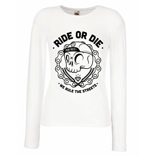 T Shirt Women Ride or Die (Medium White Multi Color)