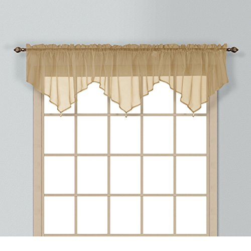 (1 Piece Coordinating Sheer Bronze Voile Ascot Valance, Curtain, Classic, Solid Pattern, Contemporary Style, Beautiful Design, Polyester Material, Luxury and Reach Look, Stunningly Beautiful,Yellow)