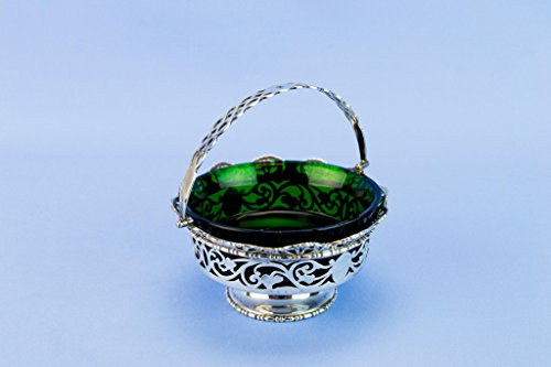 Sterling Silver Bowl Green Glass Liner Alfred Marston Chester 1911 Antique English Dish -