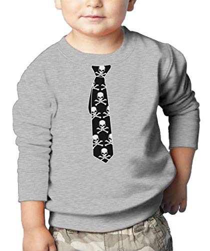 (HAASE UNLIMITED Skull & Crossbone Tie - Skeleton Goth Toddler Fleece Crewneck Sweater (Light Gray, 7T))