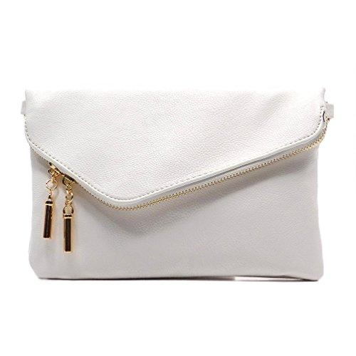 Elphis Fashion Evening Envelope Fold Over Clutch Wristlet Purse Cross Body Bag (023-White) by Elphis