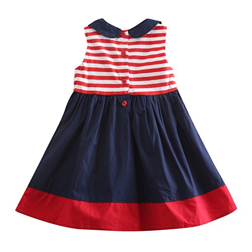 Baby Girls Lovely Cartoon Embroidery Cotton Bowknot Princess Party Dress 3-4Y