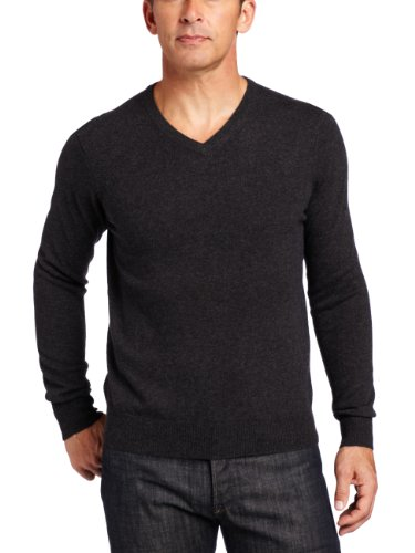 Malo Cashmere Sweater (Williams Cashmere Men's 100% Cashmere V-Neck Sweater, Charcoal, XX-Large)