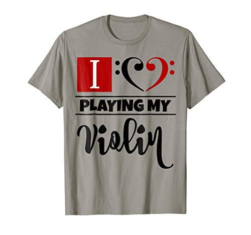 Double Black Red Bass Clef Heart I Love Playing My Violin T-Shirt