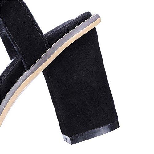 Allhqfashion Dames Stevige Frosted Hoge Hakken Open Teen Sandalen Zwart