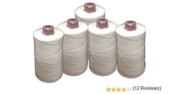 PAMPOLS Pack 5 Hilos de poliéster resistente y grueso BLANCO para coser sacos (Cada bobina pesa 200 gr y mide 11 cm de alto): Amazon.es: Hogar