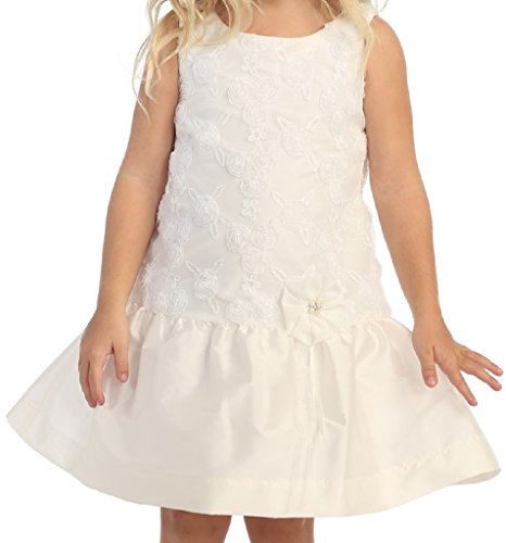 (Big Girls' Taffeta Drop Waist Sequin Easter Flower Girls Dresses Off White Size 10)