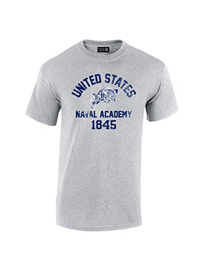 - NCAA Navy Midshipmen Mascot Block Arch T-Shirt, XX-Large, Sport Grey