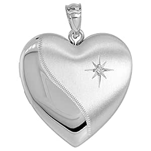 Sterling Silver Diamond Heart Locket / Urn Necklace 1 Picture 16 inch