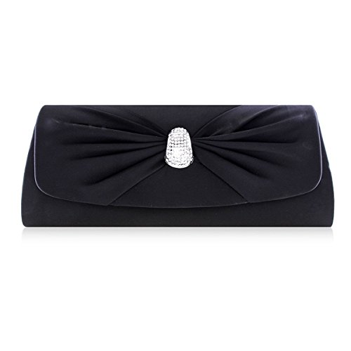 Satin Black Snap Damara Womens Flap Bowknot Bowknot Womens Damara Party Handbag xYnxvq0