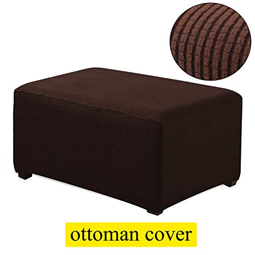 (TIENCIY Oversized Ottoman Slipcover Sofa Spandex Jacquard Stretch Storage Ottoman Slipcover Protector Covers(Oversize, Chocolate))
