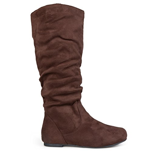 Brinley Co. Womens Knee-High Slouch Microsuede Boot Brown, 7 Regular US