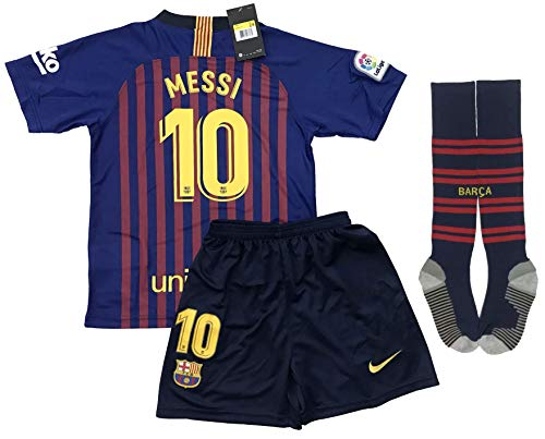 new style bbe06 7be46 TrendsNow New 2018-2019 Messi #10 Barcelona Home Jersey Shorts and Socks  for Kids and Youths (7-8 Years Old)