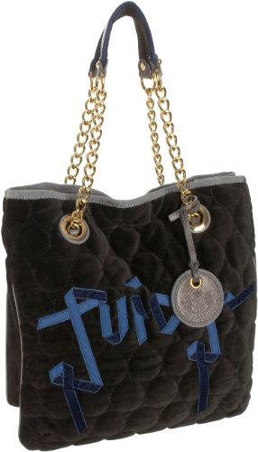 Juicy Couture Quilted Circles Tote,Black,one size