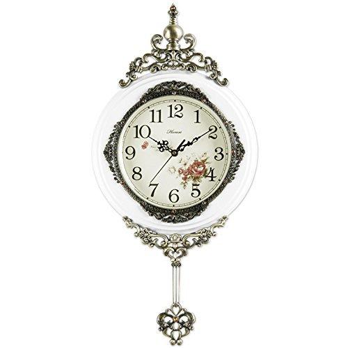 掛け時計 14インチのアンティークレトロ装飾ウッド時計ウルトラミュートサイレントクォーツムーブメントウッドウォールクロック、振り子振り子 (色 : 白) B07DRGJNMH 白 白