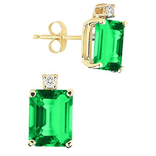 (8x6MM Emerald Cut Created Emerald And Diamond Earrings In 14K Yellow Gold)