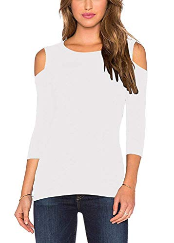 Mippo Womens Sexy Summer Shirts Cold Shoulder Tops for Women Slim Fit 3/4 Sleeve Shirts Boat Neck Stretchy Tunics Blouse Tops Casual Loose Knit Party Club School Wear Winter Clothes White L