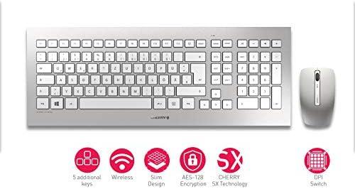 Cherry DW 8000 - Conjunto de Teclado y Mouse inalámbricos - Diseño alemán - Teclado QWERTZ - Plateado y Blanco