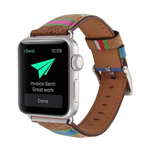Sunbona Bracelet Strap Apple Watch 38mm, Retro Wood Grain Leather Durable Double Buckle Adjustable Sports Bracelet Replacement Wristwatch Bands (B)