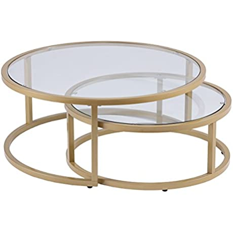 Furniture HotSpot Gold Nesting Coffee Table 2 Pc Round 35 5 W X 35 5 D X 14 75 H