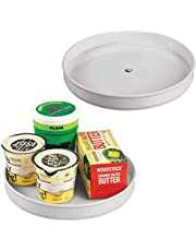 "mDesign Plastic Lazy Susan Turntable Food Storage Container for Cabinets, Pantry, Refrigerator, Countertops - Spinning Organizer for Spices, Condiments, Baking Supplies - 9"" Round"