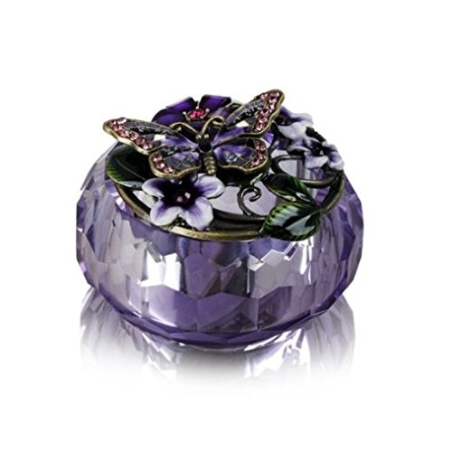 Welforth Purple Crystal Butterfly Trinket Box Crystal Trinket
