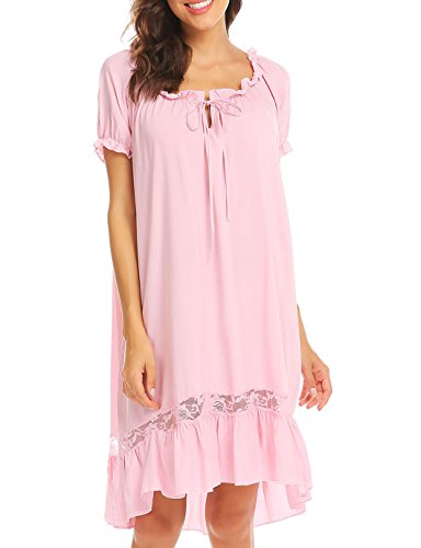 Ekouaer Short Sleeve Nightgown Cotton Victorian Nightgown for Women