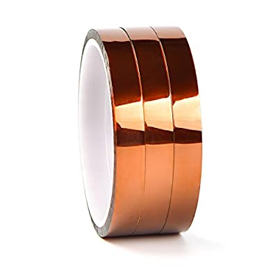 LABOTA 3 Roll High Temp Tape, Heat Resistant Tape Polyimide Masking Tape Kapton Tape for Masking, Soldering, Powder Coating, Sublimation and Insulating Circuit Boards (12MM x 30M)