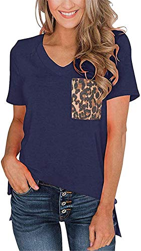 Womens Short Sleeves Casual Loose V Neck T Shirts Basic Tops Leopard and Sequin Pocket (Navy, S)