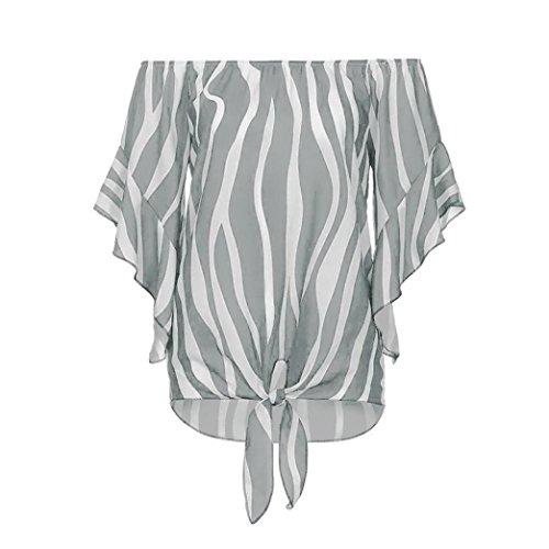 épaule hors manches Tefamore chemisier Tops à rayées T ❤️Femmes occasionnels taille courtes cravate Gris shirts HZUpq