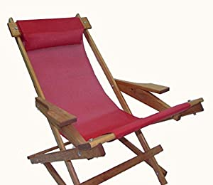 Amazon.com: Wooden Folding Rocking Chair with All Weather Sling (Red ...