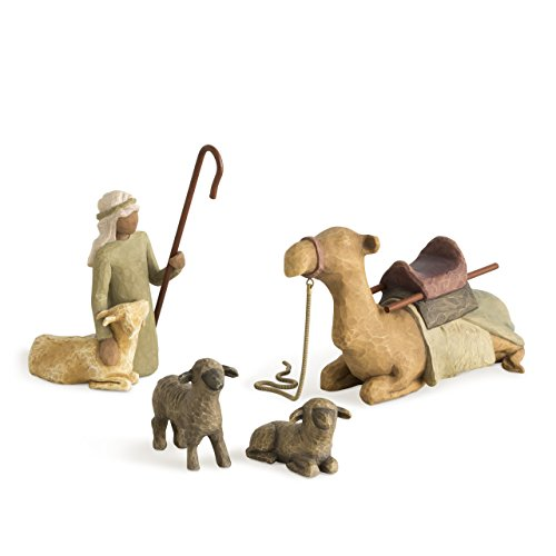 - Willow Tree Shepherd and Stable Animals, sculpted hand-painted nativity figures, 4-piece set