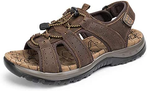 Agennix Store Lip Balm Tube US Size 6-9.5 Men Casual Outdoor Leather Sandals Breathable Comfortable Beach Flat Shoes Brown Multi 9 Medium