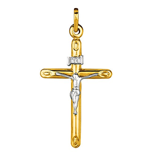 tube rond or 14 K 2 tons Crucifix Pendentif
