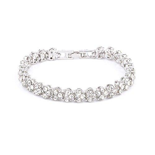 HT COLLECTION Women Crystal Diamond Bangles Bracelets Rhinestone Bracelets Silver Color