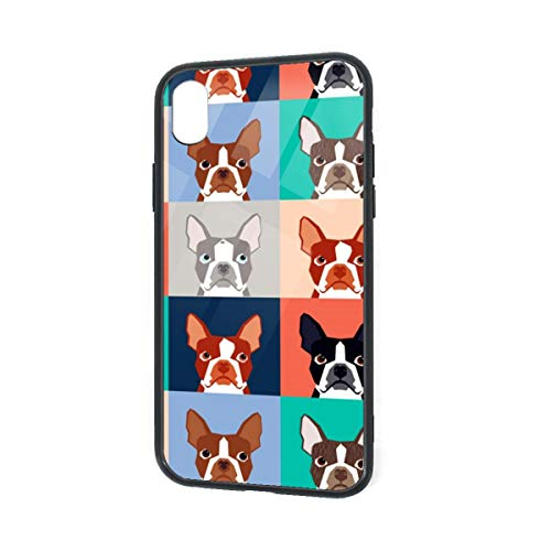 (C-CASE Boston Terriers Pattern Flexible Retro Minimalist Luxury Durable Waterproof TPU Inner Shockproof Glass IPhoneXR Case)