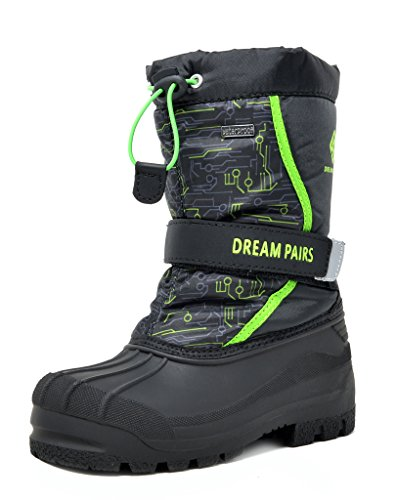 DREAM PAIRS Little Kid Kamick Black N.Green Mid Calf Waterproof Winter Snow Boots Size 11 M US Little Kid