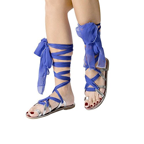 Huiyuzhi Womens Strappy Leather Lace-up Sandals Wrap Gladiator Flat Sandal (7.5 B(M) US, - Silk Wedding Sandals