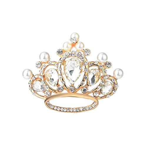 Hollow Pearl Crystal Crown Brooch,Geometric Circle Cartoon Princess Crown Brooch for Women Girls Wedding Gifts (White)