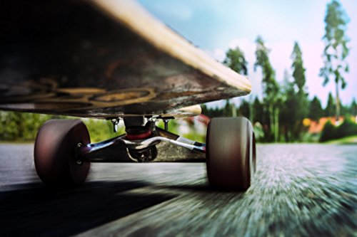 Longboard in Motion Close Up Photo Art Print Poster 18x12 inch - Motion Longboards