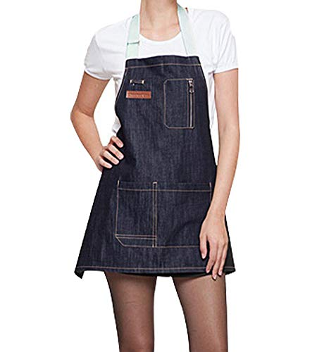(TLY Adjustable Apron, Bib Denim Jean Aprons with 3 Pockets for Women Men Chef Barista Bartender Painter in Cooking Kitchen Bistro Cafe, 25 x 24 inch)