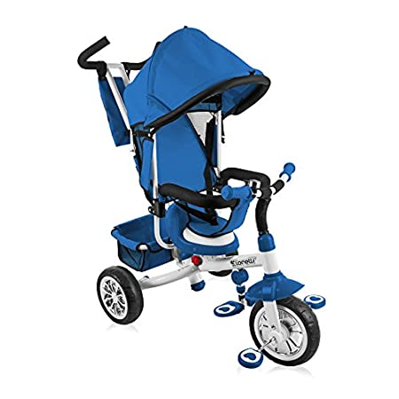 Lorelli Tricycle B302A mit Dach, Schubstange, Softsitz, Korb, Innensitz blau