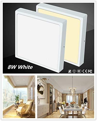 Leoie 85-265V Ultrathin Square LED Panel Light Anti-Mist Ceiling Lamp Downlight Home Office Decoration 8W 88mm White Light