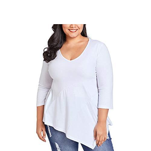 FuweiEncore Magliette Donna Taglie Forti Manica Lunga Particolari (Colore : Bianca, Dimensione : XXXL) Bianca