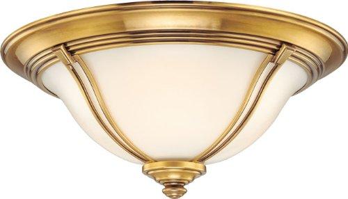 - Hudson Valley 5417-FB, Jefferson Round Flush Mount Ceiling Lighting, 3 Light, 180 Total Watts, Brass