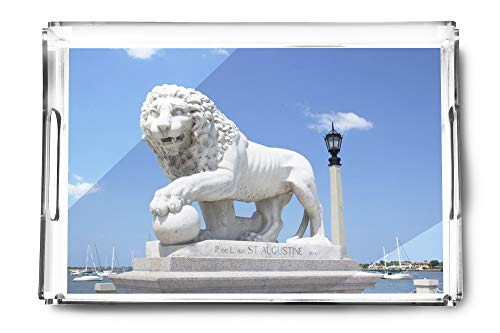 St. Augustine, Florida - Medici Lion Marble Statue - Photography A-92564 (Acrylic Serving Tray)